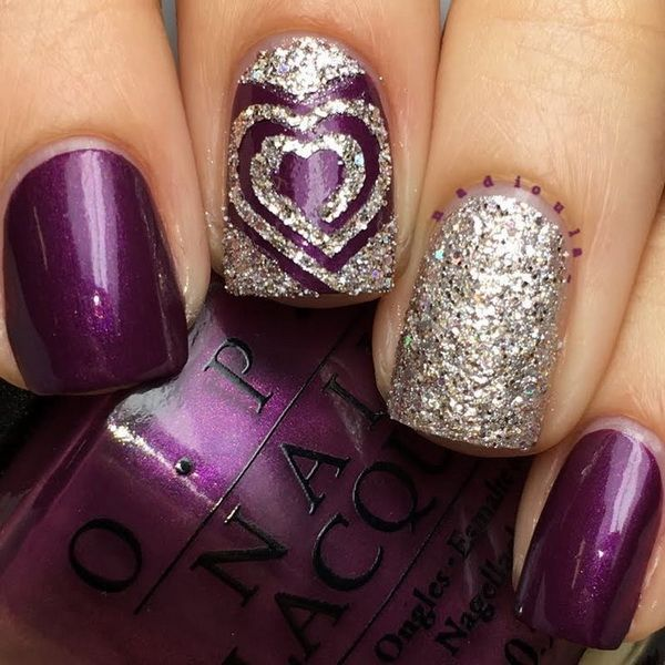 Awesome Purple Nails with Glitter Accent. http://www.skullclothing.net