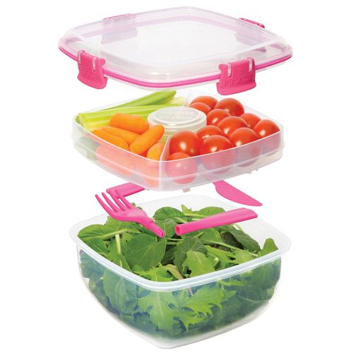 Sistema Salad To Go Lunch Container   Pink Color Accents. We Love The  Individual Compartments