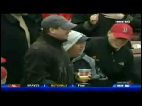 Red Sox Fan Gets Piece of Pizza Thrown at Him (highly unnecessary); NESN's Don Orsillo and Jerry Remy giggle hysterically