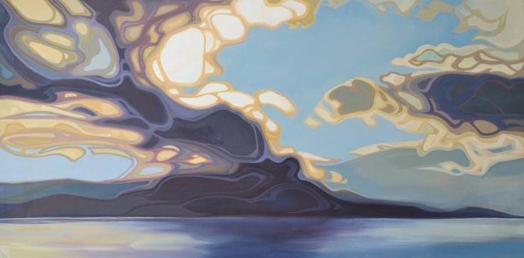 """Erica Hawkes, Sky Fall, Acrylic on Canvas, 24"""" x 48"""""""