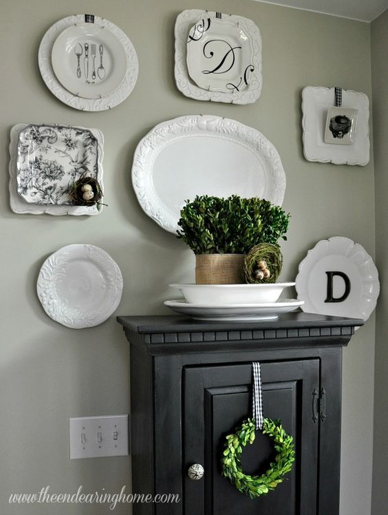 Neutral plate wall from The Endearing Home Blog