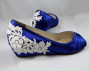 Royal Blue Wedding Shoes Wedge Low heel -- 1 inch Ivory Lace wedge shoes