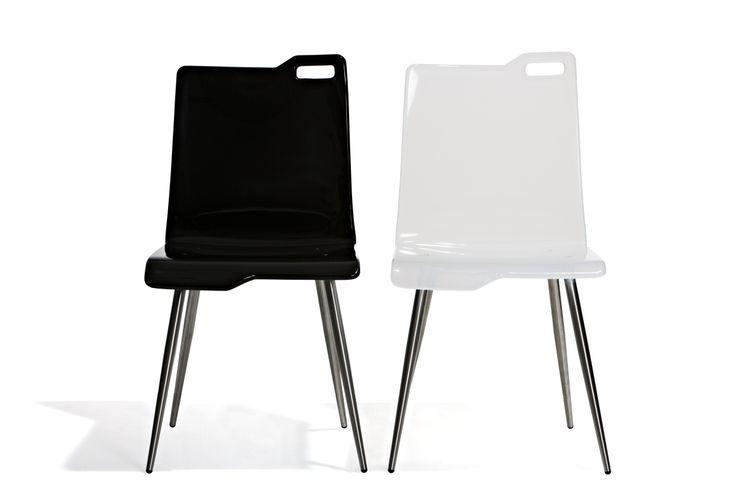 Ibiza - Matstol med sits i plexiglas och ben i stål.