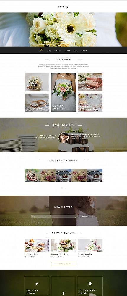 Template 58415 - Wedding Planner  Responsive Moto CMS 3 Template