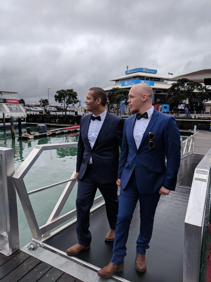 Auckland Viaduct Same Sex Wedding. Hallenstein Brothers Suits.