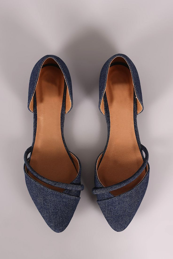 This slip on dorsay pointy toe silhouette with an asymmetrical strap detail, open shank construction, and lightly padded insole for comfort. Material: Denim (man-made) Sole: Rubber Measurement Heel He