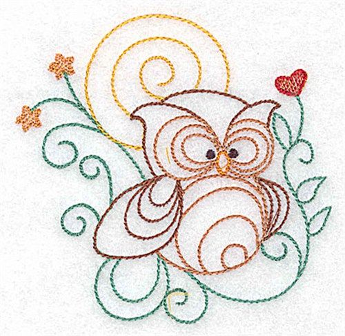Animals Embroidery Design: Owl Outline from Adorable Ideas