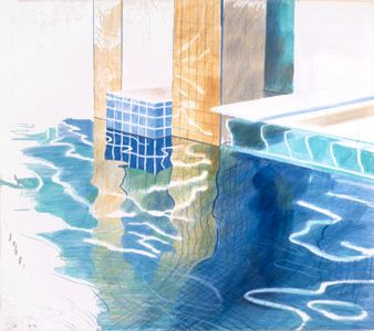 David Hockney: Study of Water, 1976 crayon on paper