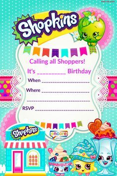 Updated – FREE Printable Shopkins Birthday Invitation Template | Drevio Invitations Design