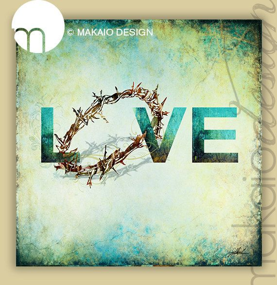"Easter Crown of Thorns LOVE Christian Art 12"" x 12"" Gallery Wrapped Canvas"