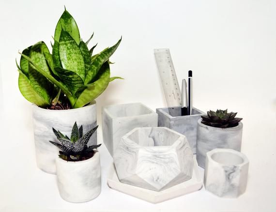 Hey I Found This Really Awesome Etsy Listing At Https Www Etsy Com Listing 675394251 Marble Planter Conc Succulent Pots Concrete Vases Unusual Gifts For Her