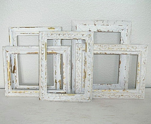 Ornate creamy white distressed picture frames instant for Floor mirror italian baroque rococo style in lacquer finish