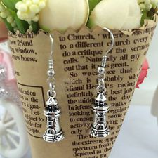 New 1 pair Free shipping Fashion Antique silver Jewelry pagoda earring@3