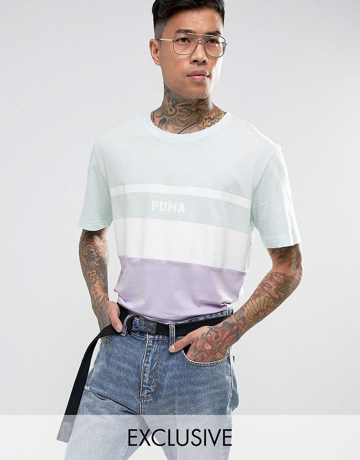 Puma Color Block T-Shirt In Blue Exclusive to ASOS - Blue