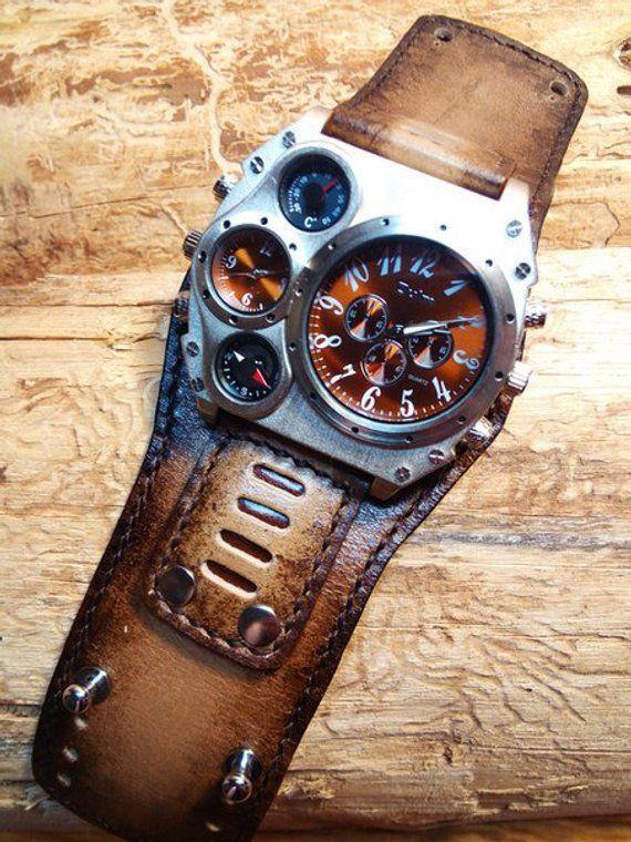 Watch Steampunk Wrist Cuff Men TimeEtsy For Leather Dual m8vNy0nwO