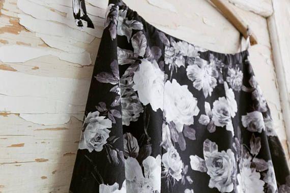 Black and white roses skirt Women cotton print shirt Long
