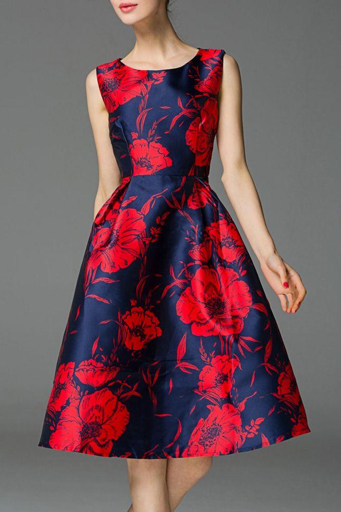 Sleeveless Poppy Print Dress