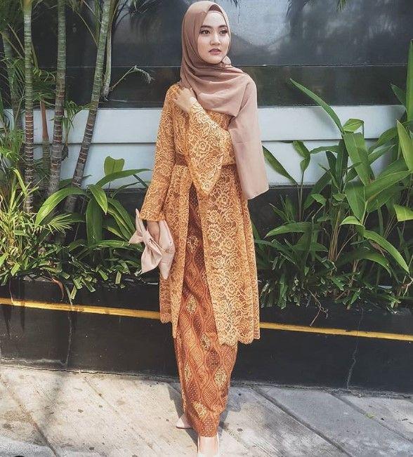 50 Koleksi Model Baju Gamis Brokat Kombinasi Batik Terkini 2019