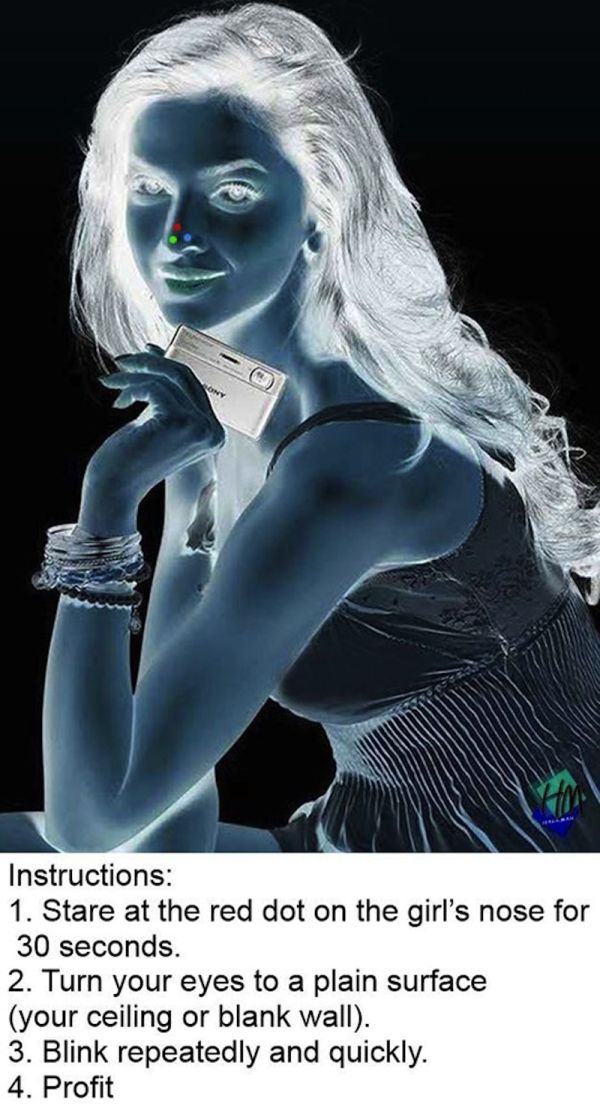 Stare at the red dot for 30 seconds, then blink at the ceiling or a blank wall  Freak part is that i saw beyond smiling at me on my wall. DAH FUQ!