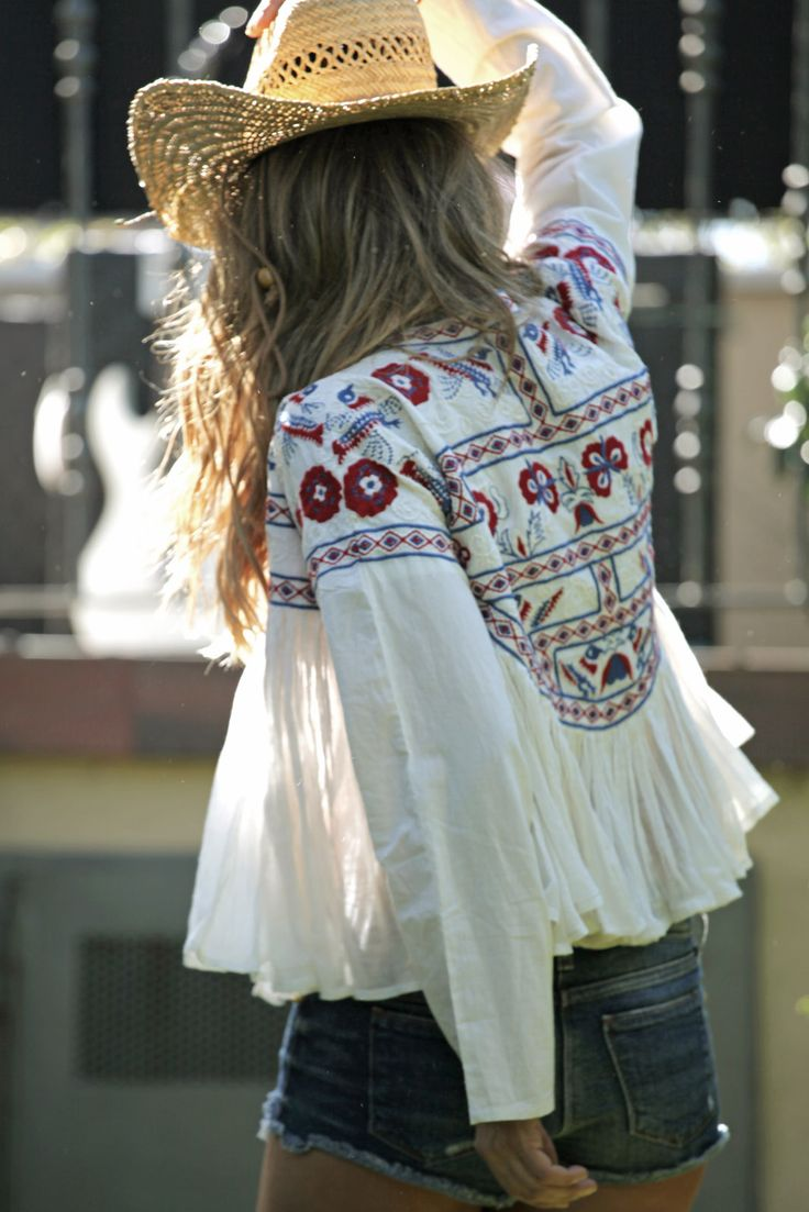 Gypsy embroidered embellished boho chic top & cowboy hat for a modern hippie allure. For the BEST Bohemian fashion trends FOLLOW http://www.pinterest.com/happygolicky/the-best-boho-chic-fashion-bohemian-jewelry-gypsy-/ now.