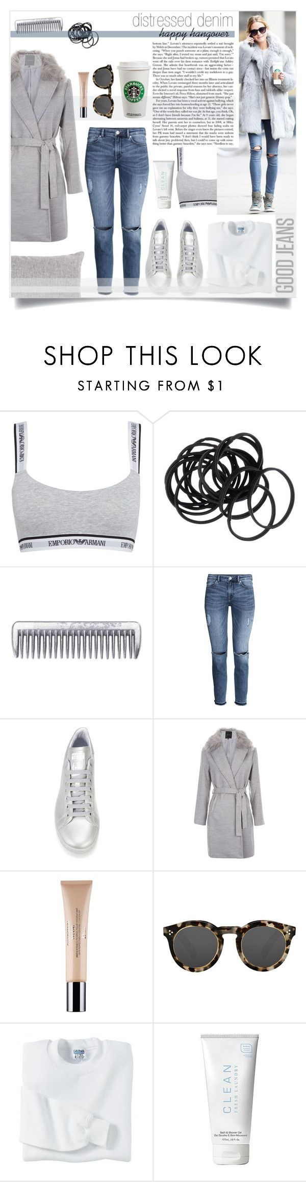 """""""Dissertier Denim makes a happy hangover style - Olivia Palermo"""" by sophie-martina ❤ liked on Polyvore featuring Emporio Armani, H&M, adidas, Christian Dior, Illesteva, Gildan, CLEAN, women's clothing, women and female"""