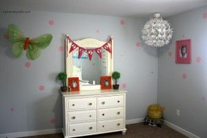 Little Girls Room Polka Dot Walls And Whit Cabinet With Green Butterfly, Twin Frame Round Lights Ornament