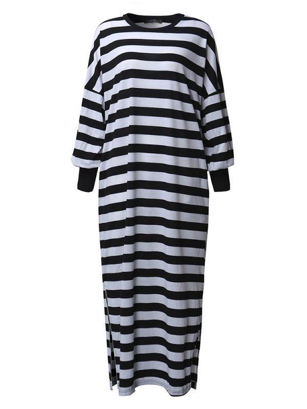 Casual women crew neck batwing sleeve striped long shirt dresses maxi dress 65 inches #maxi #dress #411 #maxi #dresses #denim #maxi #dresses #muslim #maxi #dresses #target