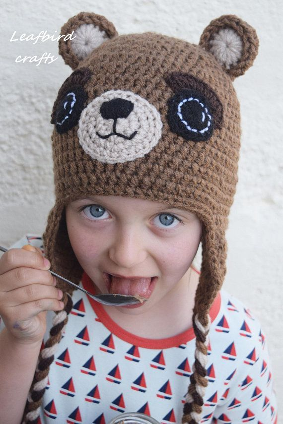 f4f1d0d6b58 Crochet Teddy bear hat Handmade hat Kids hat Girls hat