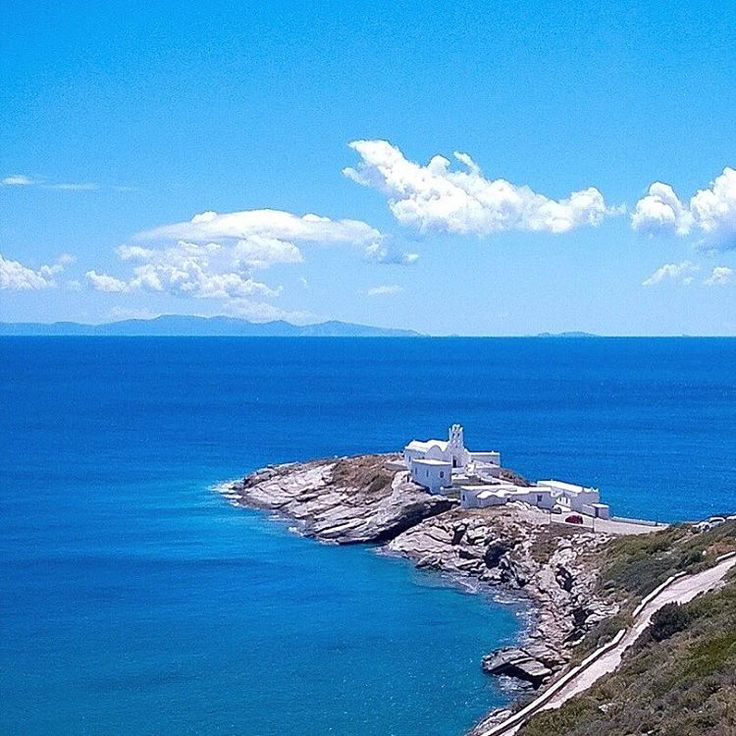 3λ cyclades_islandsSifnos island (Σίφνος)❤️. The famous monastery of Chrisopigi built on a rock right on top of the sea !! The perfect blue