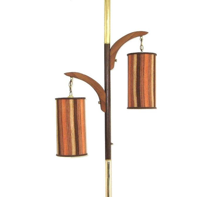 pole lamp with wood finials and fabric shades - Pole Lamps