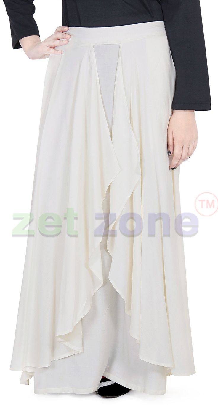 Modern and Modest Skirts for Women || Get a trendy and catchy look by wearing this ivory colored skirt that comes from Zet Zone. Made from soft rayon, this skirt is moderately flared. You can team this skirt with a printed top to complete your casual look. | Shop Now » https://www.zetzone.com/women/islamic-clothing/Skirt%20/Ivory-Soft-Skirt.html