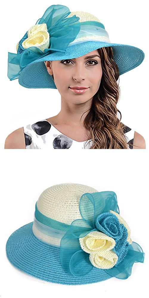 45a7942901ba8 Fanny Straw Kentucky Derby Church Dress Wedding Floral Beach Sunat (Bucket  Floral-Turquoise)
