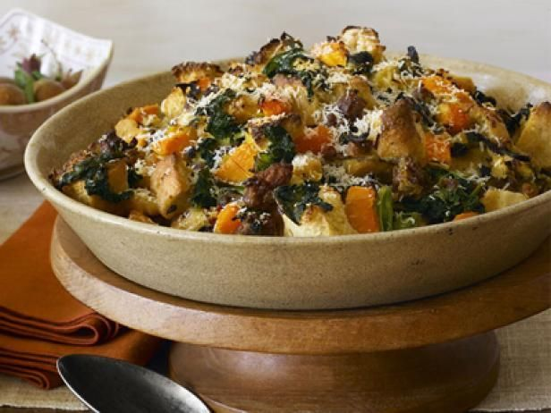Sausage and Kale Thanksgiving Dressing : This fancy dressing from Food Network Magazine uses onion focaccia as the base, then layers on flavor with Italian fennel sausage, butternut squash, kale and Parmesan cheese.