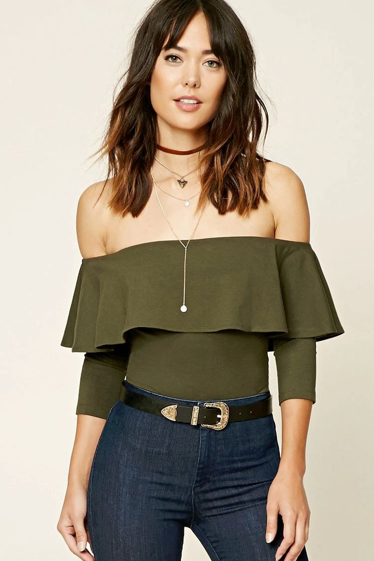 Forever 21 Contemporary - A knit bodysuit featuring an off-the-shoulder neckline with a flounce layer, 3/4 sleeves, and a snap-button closure.