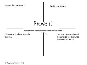 Prove it! Graphic Organizer for using textual Evidence, CC