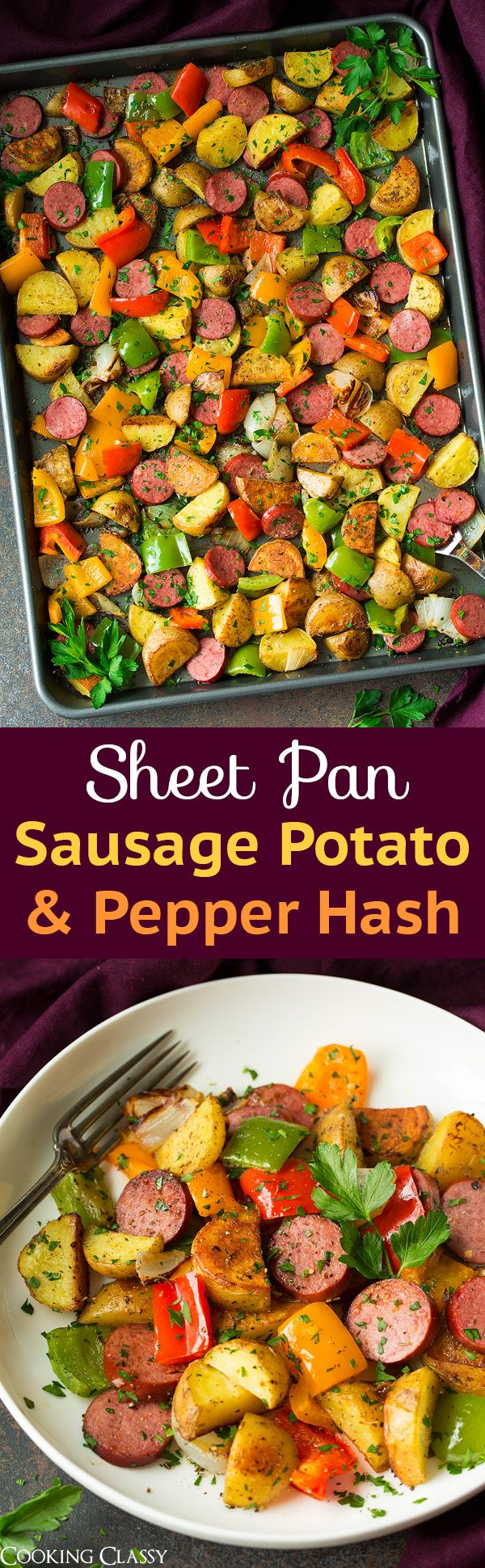 Sheet Pan Turkey Sausage Potato and Pepper Hash - Super easy recipe perfect for dinner or breakfast! Easy clean up.