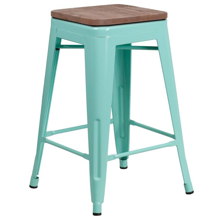 Flash Furniture 24 in. Mint Green Bar Stool CGA-ET-249950-MI-HD