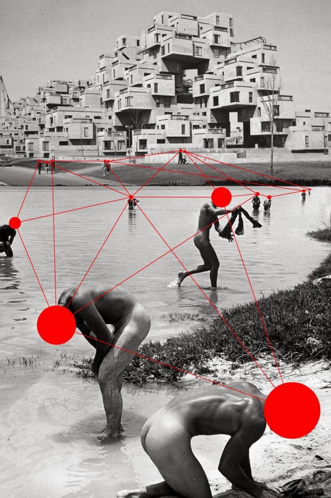 du Varret (14) black and white and red dots mixed collage.