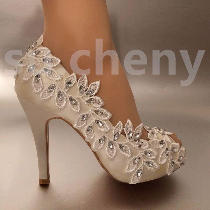 """3"""" 4"""" каблук белого цвета слоновой кости кружева оливковой ветви, с открытым носком свадебная обувь просто. размер 5-11"""
