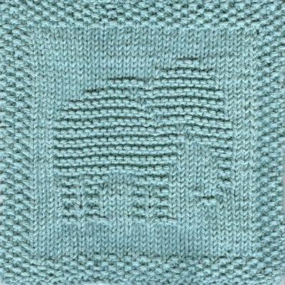 This knit dishcloth picture is of an elephant in profile facing to the right. He is easily recognized by the shape of his head and the slope of his back. His trunk is hanging down and is curled under. **All purchases are for a downloadable PDF file of the knitting pattern and not for the actual dishcloth.**