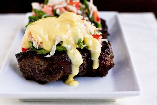 """BEEF TENDERLOIN STEAKS  served """"Oscar Style"""" ~ topped w/ crab meat, blanched asparagus tips, & Bearnaise sauce"""