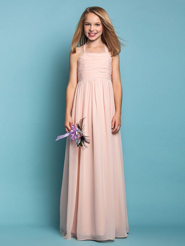 Lanting Bride Floor-length Chiffon Junior Bridesmaid Dress Sheath / Column Halter Natural with Ruching - USD $69.99