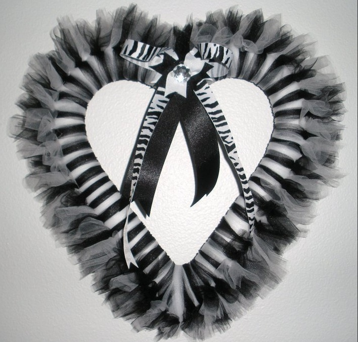 Zebra Tutu Wreath.   the heart would be cute for the Valentines one   @Heather Waggoner