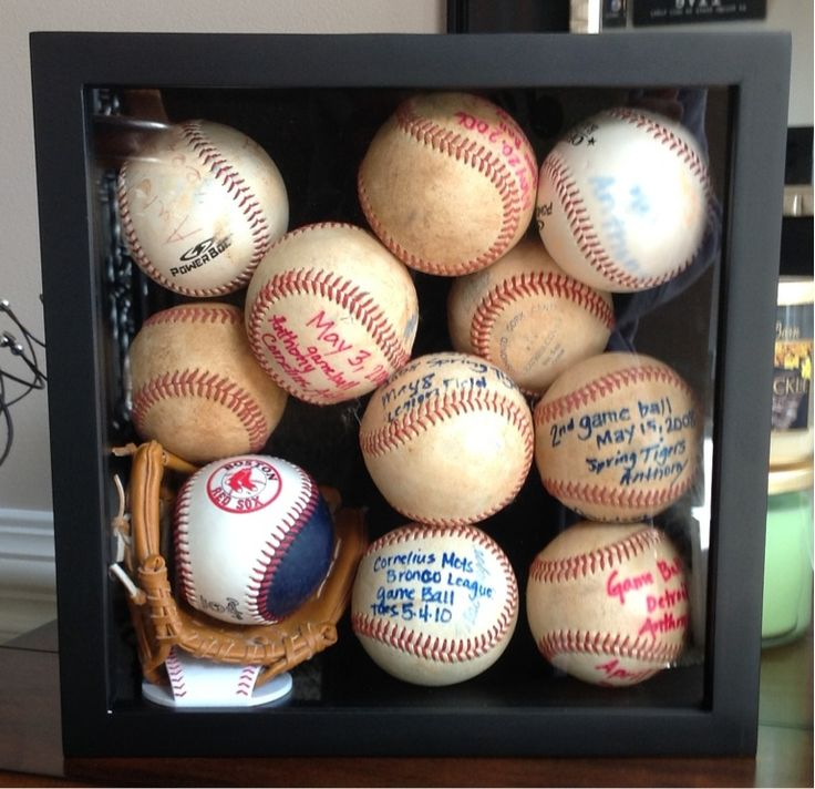 Game balls in a picture box for display...good organization! Baseballs!