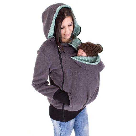 Tragejacke 3in1, für Mutter und Baby, Fleecejacke, Umstandsjacke, Schwangerschaft, anthrazit - mint Punkte, TRIO, Baby carrying jacket