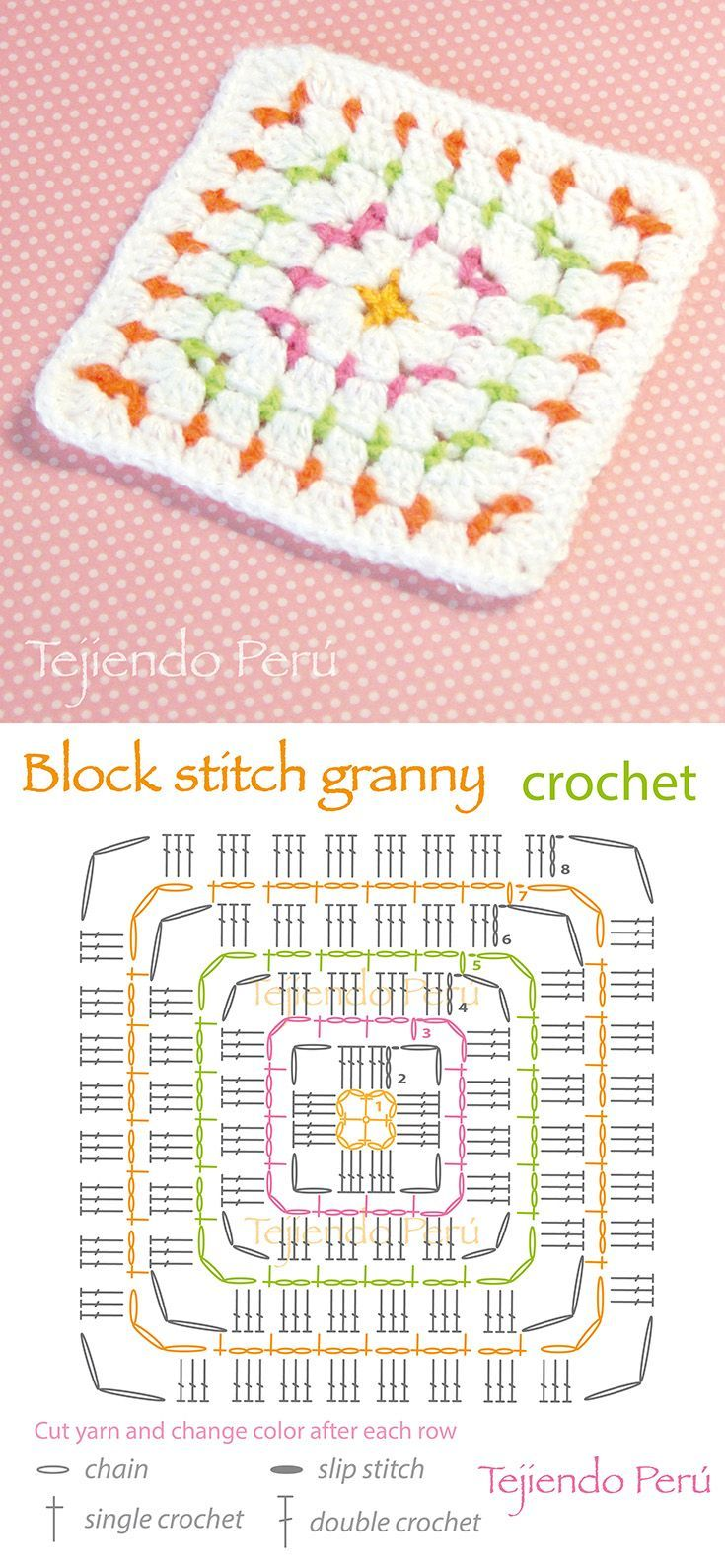 Crochet: block stitch granny square! Pattern or diagram ༺✿ƬⱤღ https://www.pinterest.com/teretegui/✿༻: