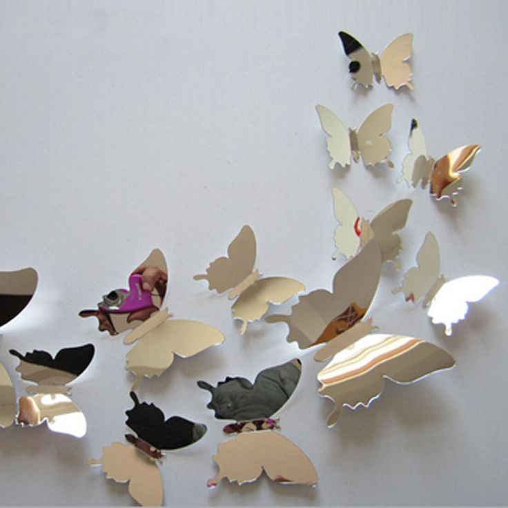12pcs/set New Arrive Mirror Sliver 3D Butterfly Wall Stickers Party Wedding Decor DIY Home Decorations