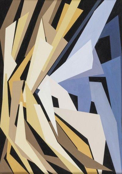 Gualtiero Nativi - Combinazione di forze, 1952, olio su cartone, 50x35,5 cm.