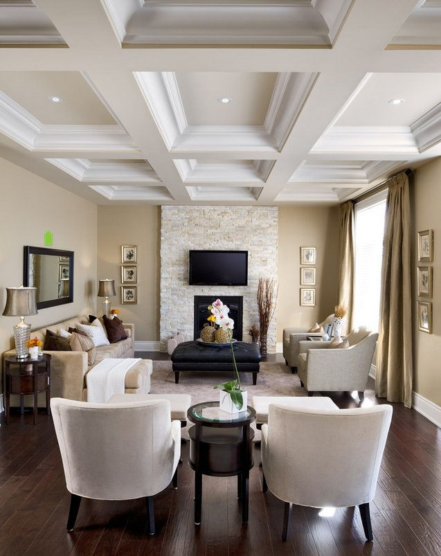 Coffered ceiling. Fireplace surround.