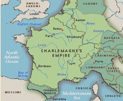 Charlemagne's Kingdom consisted of modern France, Benelux, western Germany, Switzerland, northern and central Italy and northern Spain. Built upon Roman foundations and Merovingian structures, it was the greatest Western European state to exist in the last four centuries.